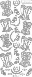 st918- stickervel met bustiere wit 10x23cm  -  121001/1134