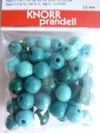 6013 006 - 50 stuks houten kralen blauw/turqoise mix 10 mm.