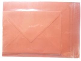 008208- 3 x A4 formaat kaarten gerild + 3 x enveloppen A5 formaat bruin OPRUIMING -50%