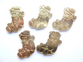 0005220.6- 5 stuks metalen charms kerstbeer van ca.3cm goudkleur OPRUIMING
