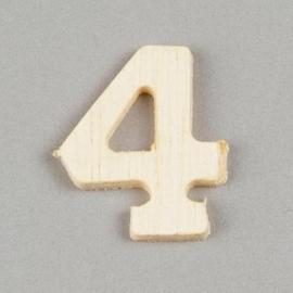 2227 1546- 2cm houten cijfer 4