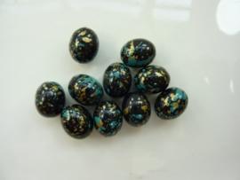00853- 10 stuks kunststof kralen gemarmerd zwart/goud/turquoise 14x11mm OPRUIMING