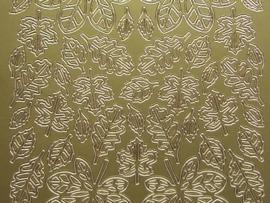 st711- sticker met diverse groottes bladeren goud 10x20cm