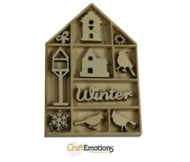 CE811500/0321- 50 stuks houten ornamentjes in een doosje winter 10.5x10.5cm