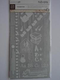 5431- basic grey rub-ons school afbeeldingen incl. krasstokje