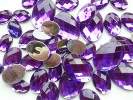 2282 0360- 43 x kunststof strass stenen assortiment ovaal van 15 tot 27mm lang paars
