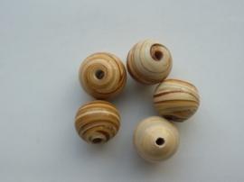 2644- 5 stuks glaskralen met houtmotief van 11mm