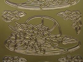st341- hoed met bloemen goud 10x20cm