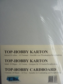 30- 20 vellen kaartkarton A5 formaat voor dubbele kaarten ca.225grams zilver grijs