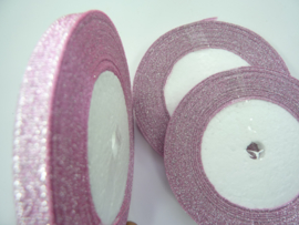 rol met 22.86 meter sparkle lint roze van 6mm breed OPRUIMING