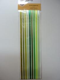 5928- Make Me funny ribbons groen tinten zelfklevend 30.5cm lang OPRUIMING