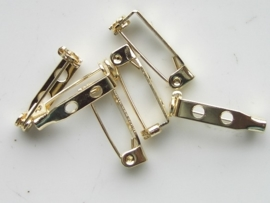 19mm - 6 stuks brochespeldjes met veiligheidssluiting goudkleur