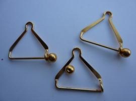 000132- 3 stuks linthouders met afschroefbaar bolletje goudkleur 2.5cm OPRUIMING