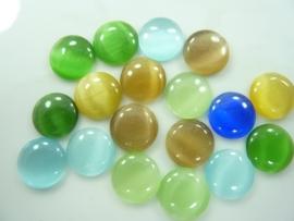 5165- 18 stuks cateye / tijgeroog glazen plaksteentjes van 12mm kleurenmix