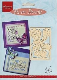 0002470- Marianne Design flower borduur embossingstencil EE3440 5.5x8.5cm OPRUIMING