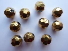 1299- 10 stuks electroplated glaskralen 10x9mm hoogglans goud/brons - SUPERLAGE PRIJS!