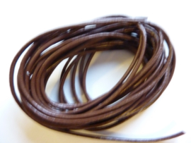 5 meter echt leren veter midden bruin van 2 mm. dik - AA kwaliteit - SUPERLAGE PRIJS!