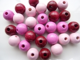 KN6013 204- 28 stuks houten kralenmix 12mm roze tinten