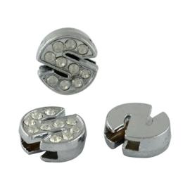 letter S - leerschuiver met strass steentjes zilver 13mm