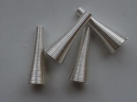 10x27x3mm kralenkapjes/eindstukken 4 stuks zilverkleur - CN180Y - SUPER LAGE PRIJS!