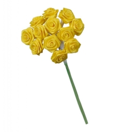 6547 052- 12 stuks roosjes van 10cm lang en 1.5cm breed geel