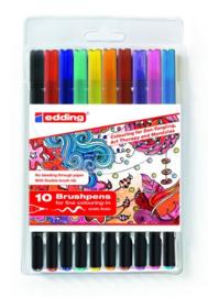 CE391340/9012- 10 stuks brushpennen edding-1340