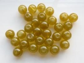 3769- 30 stuks imitatie Jade glaskralen 7-8mm olijfgroen - SUPERLAGE PRIJS!