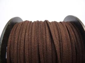 3 meter imitatie suede veter van 3mm breed donkerbruin