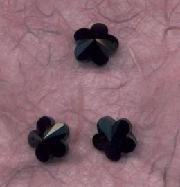 117471/0897- 4 x geslepen glashangers bloem 14mm zwart opak