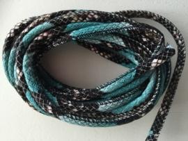 PU.08- 3 meter imitatieleren koord slangenprint turquoise 4mm