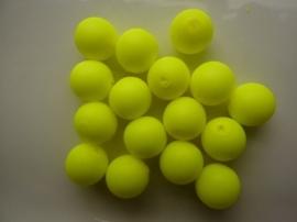 3747- 16 stuks glaskralen van 12mm neon/fluor geel