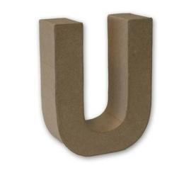 1929 3121- stevige decoratie letter van papier mache - 3D letter U