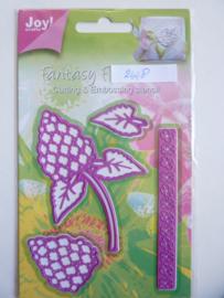 0002448- Joy Crafts stencil Fantasy flowers bloem, blad en rand OPRUIMING