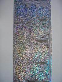 st 672- kerst holografische stickers kerstballen zilver 10x20cm
