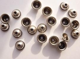 7mm kralenkapjes 20 stuks staalkleur - SUPERLAGE PRIJS!- CH.5099