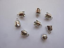 TH12296-9601- 8 stuks veterkapjes/koordkapjes 6mm staalkleur