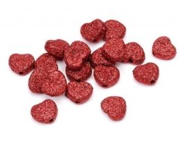 8022 022- 24 stuks hartjes van 1cm glitter rood