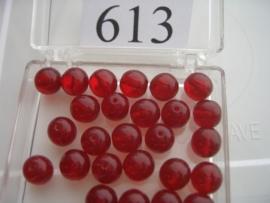 20 stuks 613 Ronde glaskraal 8 mm. rood