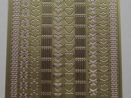 st 116- sticker met kleine figuren en randjes goud 10x20cm