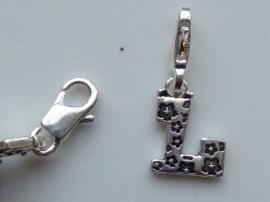 117467/1212- zwaar verzilverde metalen letter bedel L