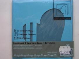 0000101- 3 x vierkanten kaarten met enveloppen hart passepartout