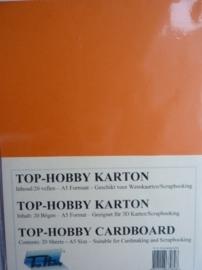 05- 20 vellen kaartkarton A5 formaat voor dubbele kaarten ca.225grams oranje