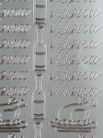 st991- stickervel met tekst menu en afbeeldingen wijn en kalkoen 10x23cm zilver