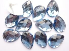 12 stuks kunststof strass stenen druppelvorm lichtblauw 25x18mm - SUPERLAGE PRIJS!