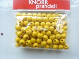 6016 052- 118 stuks houten kralen van 6mm geel