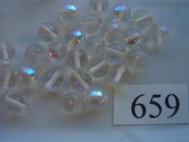 20 stuks 659 Ronde glaskraal 8mm transparant AB