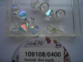 109108/400 - 12 x swarovski 8mm kristal AB