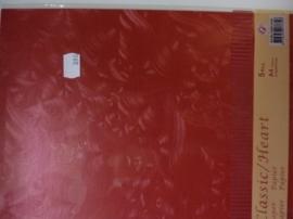 003098- 5 vellen classic line papers metallic rood met hartjes structuur A4 OPRUIMING