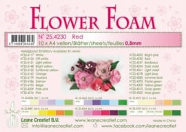 CE800205/4230- 10 sheets flower foam sheets A4 - rood