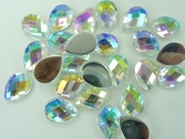 25 stuks kunststof strass stenen druppelvorm zilverkleur AB 18x13mm - SUPERLAGE PRIJS!